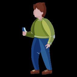 Homem de pé celular plana