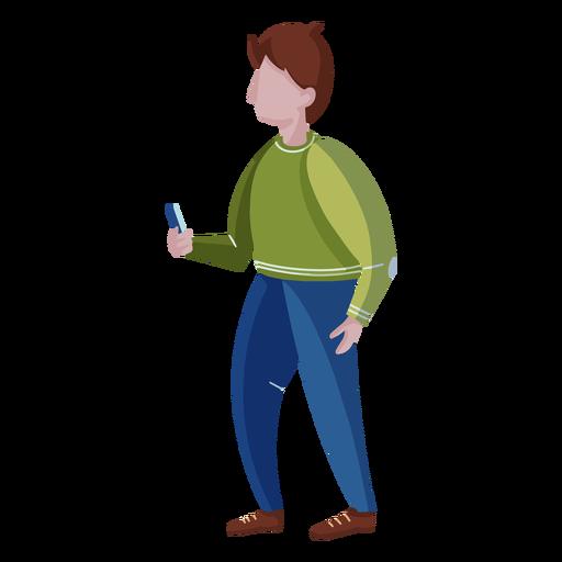 Standing man cellphone flat Transparent PNG