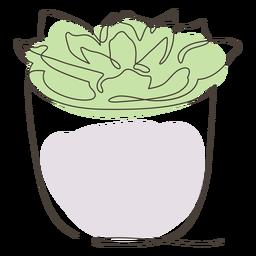 Dibujo lineal de maceta suculenta