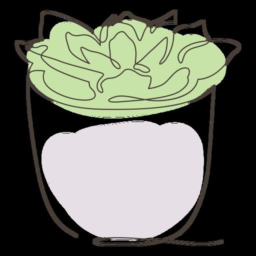 Dibujo lineal de maceta suculenta Transparent PNG
