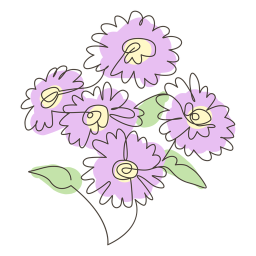 Sunflower bouquet line drawing