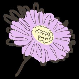 Trazo de dibujo lineal de flor de girasol