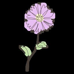 Trazo de dibujo lineal de tallo largo de girasol