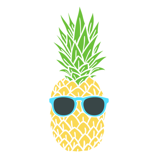 Sunglasses on pineapple realistic silhouette Transparent PNG