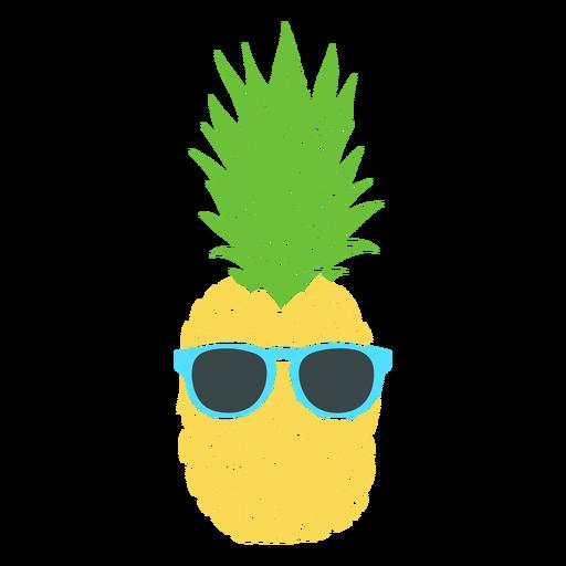 Sunglasses on pineapple realistic silhouette