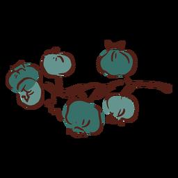 Mão de brunch de arbusto de mirtilo querida desenhada