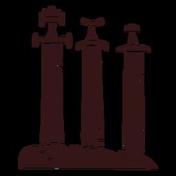 Espadas en piedra estilo vikingo