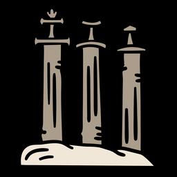 Espadas en piedra estilo vikingo dibujadas a mano.