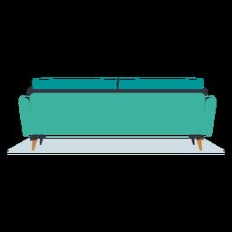 Sofá de tres plazas con vista trasera plana