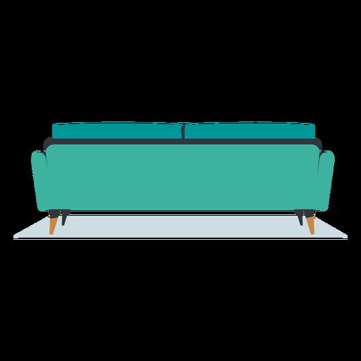 Sofá de três lugares com vista traseira plana