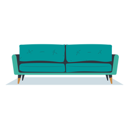 Sofá de tres plazas plano vista frontal
