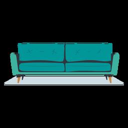 Sofá de tres plazas vista frontal plana