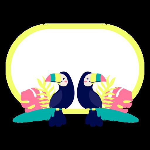 Título marco diseño de aves tropicales Transparent PNG