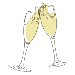 Brindando dibujo de línea de copa de champán