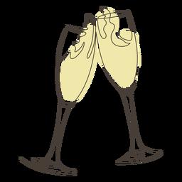 Tostado dibujo lineal de copa de champán