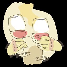 Brindando manos trazo de copa de vino