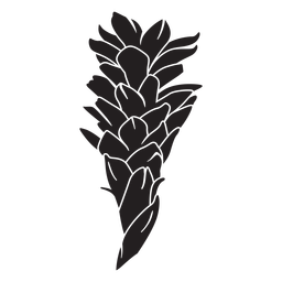 Silhueta de flor frondosa tropical