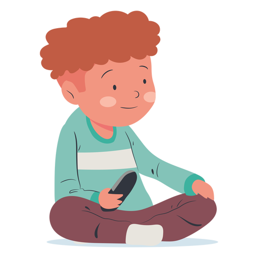 Watching tv sitting boy flat Transparent PNG
