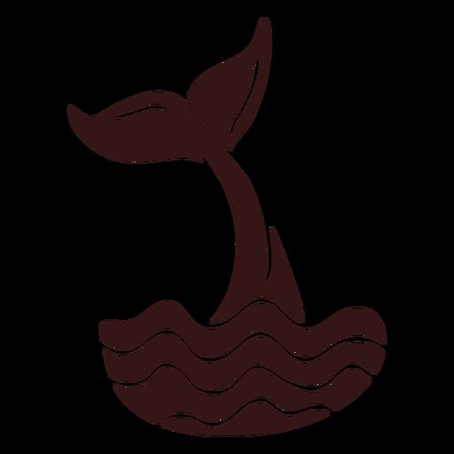 Cola de ballena golpeando el agua