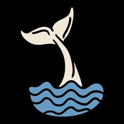 Cola de ballena golpeando el agua dibujada a mano