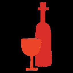 Botella de vino y vaso cortado