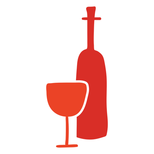 Wine bottle and glass cut out
