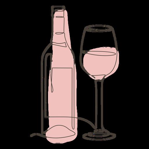 Botella de vino y trazo de vidrio