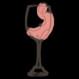 Desenho de linha elegante em taça de vinho