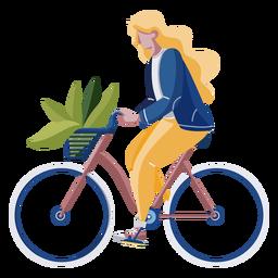 Mujer montando una bicicleta de diseño plano
