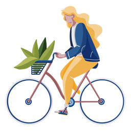 Woman riding a bike flat design