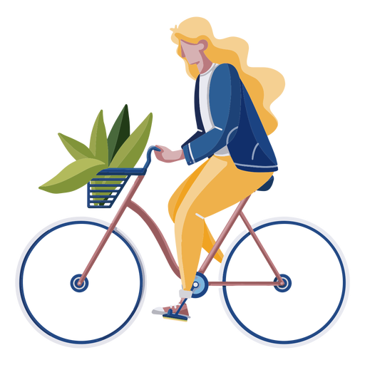 Mujer montando un diseño plano en bicicleta