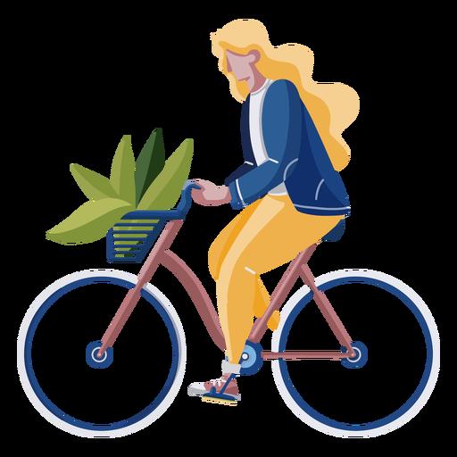 Woman riding a bike flat design