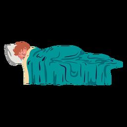 Junge, der auf Bett flach liegt