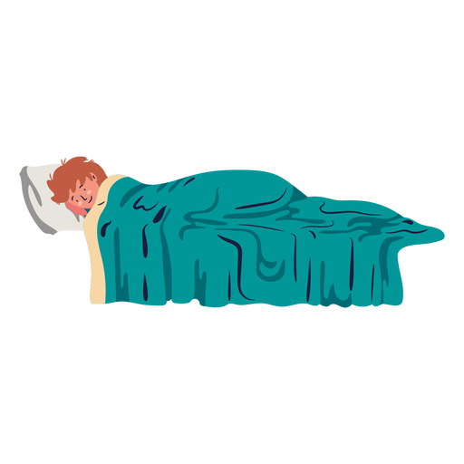 Young boy lying on bed flat