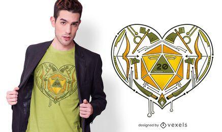 Design de T-shirt Coração de Dados de RPG