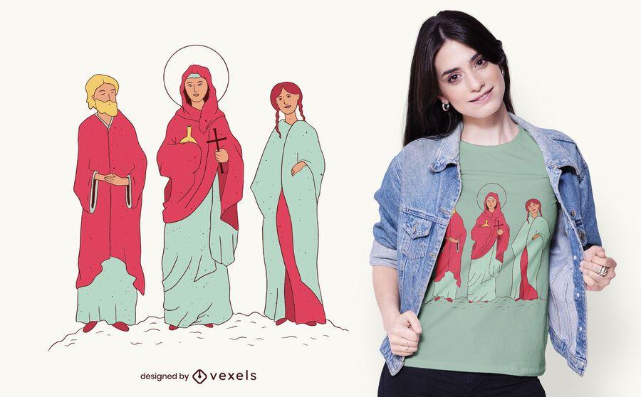 Diseño de camiseta de los santos católicos