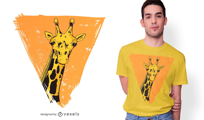 Diseño de camiseta de triángulo de jirafa