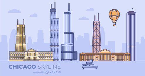 Design de skyline plana colorida de Chicago