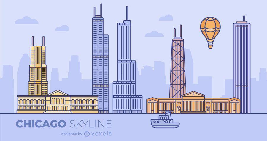 Diseño de horizonte plano colorido de Chicago