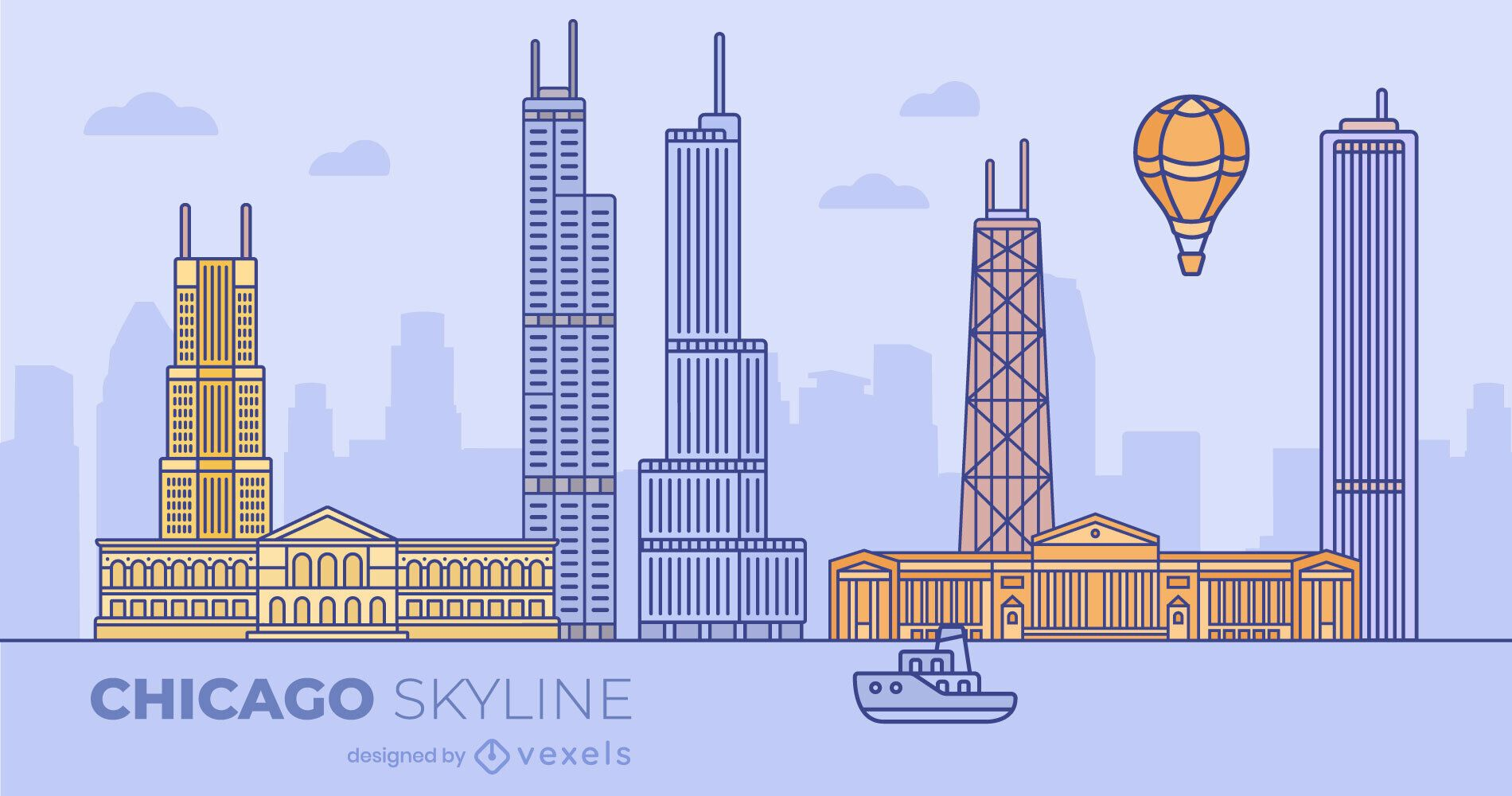 Chicago Colorful Flat Skyline Design