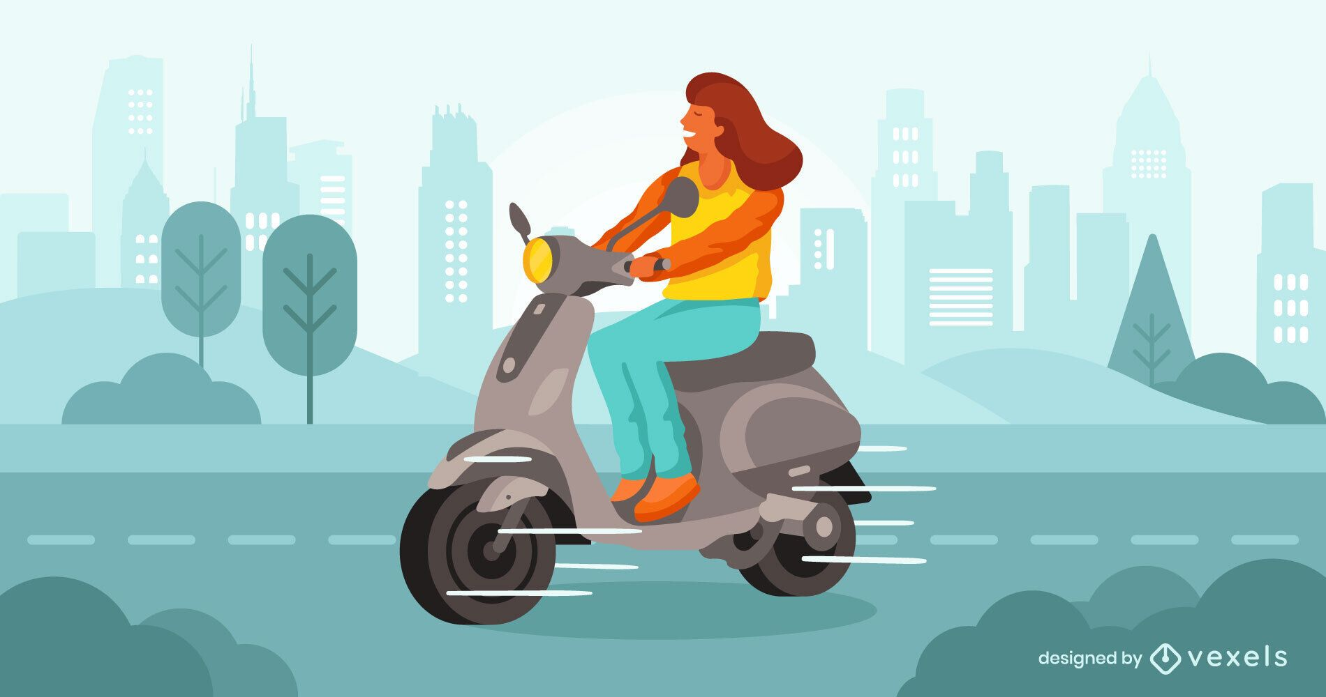 Woman ride scooter illustration design