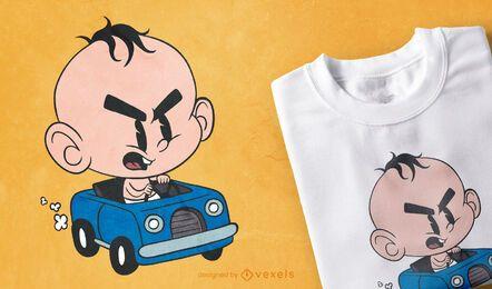 Diseño de camiseta de coche de bebé enojado