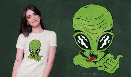 Alien Shaka Zeichen T-Shirt Design