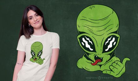 Diseño de camiseta alien shaka sign