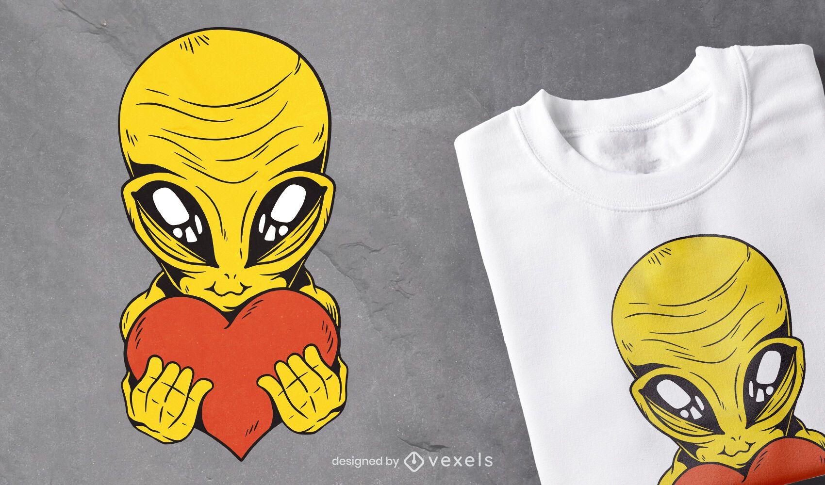 Alien con diseño de camiseta de corazón