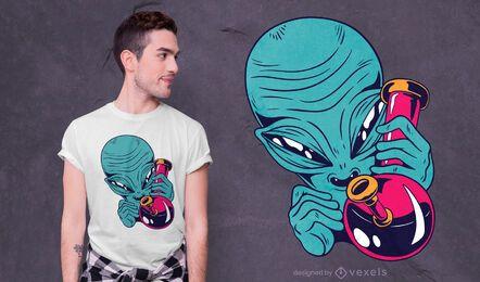 Diseño de camiseta high alien