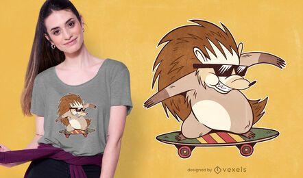 Diseño de camiseta Skater Hedgehog