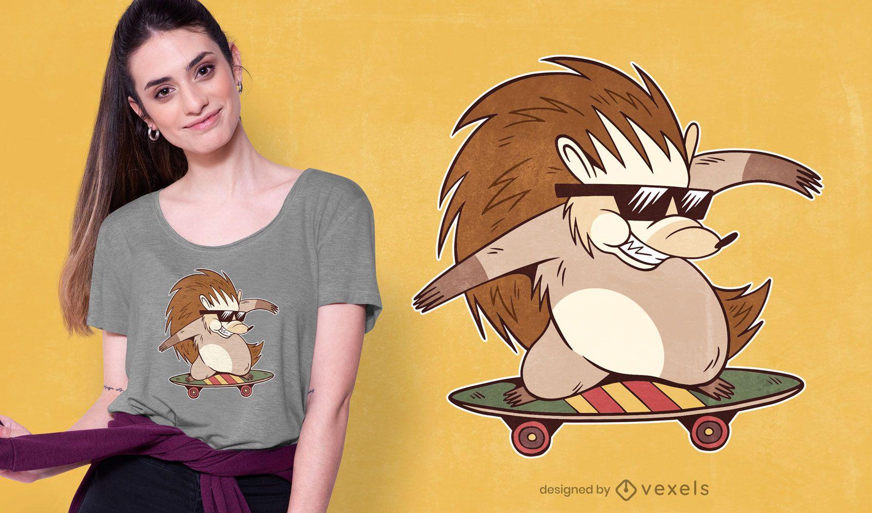 Skater hedgehog t-shirt design
