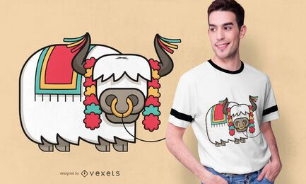 Diseño festivo de camiseta de yak