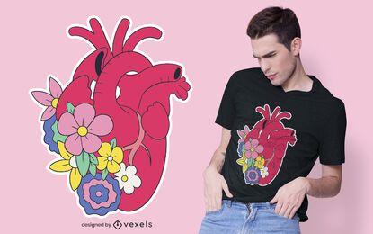 Design de t-shirt realista coração floral
